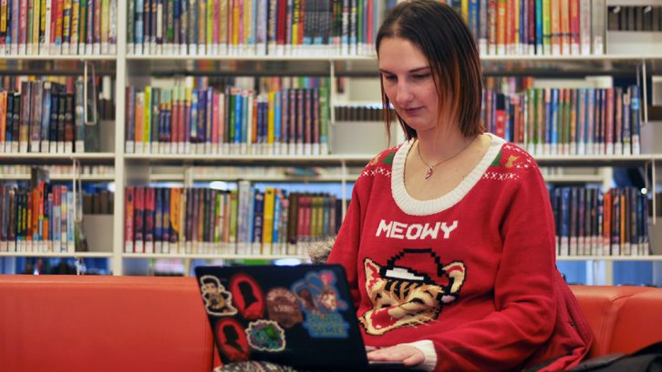 Sonja Myers likes writing her novel at center library in Halifax.
