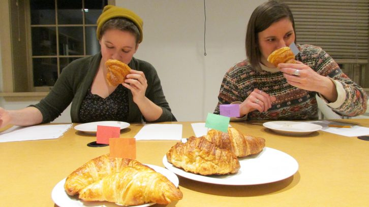 Lauren Campbell and Kelly Lucas start off by smelling the first croissant.