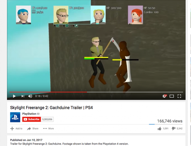The game's trailer on Sony's official Playstation channel with over 160,000 views and a majority of dislikes.