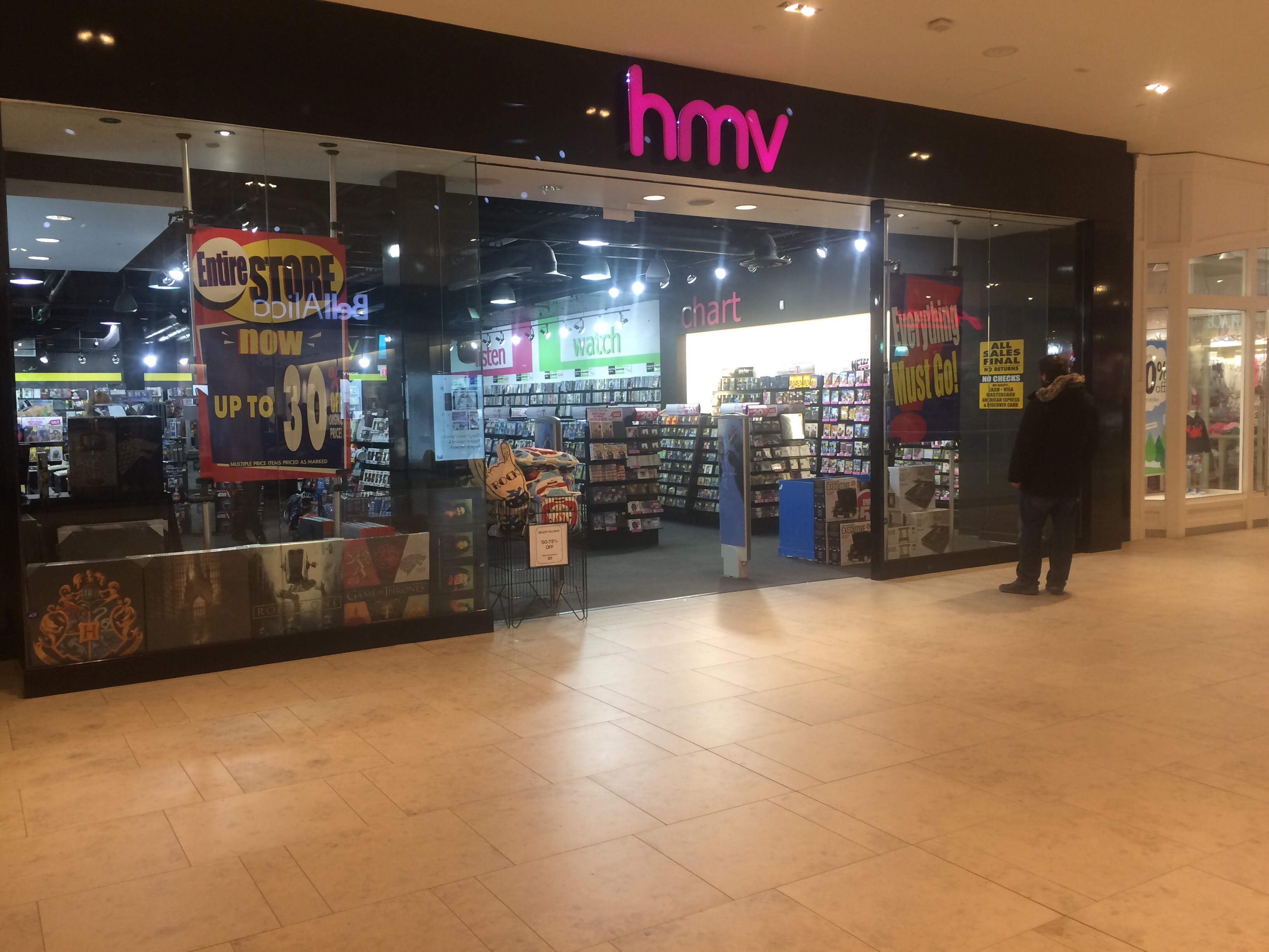 "The HMV in the Halifax Shopping Centre has started their ""everything must go"" sale."