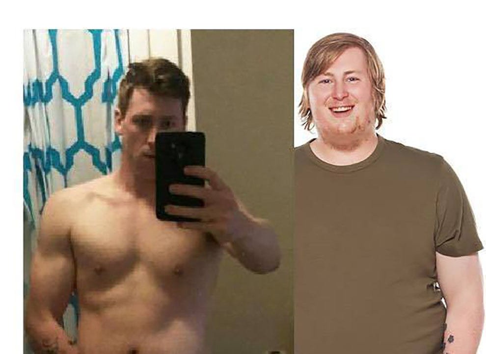 Taylor Olson lost 100 pounds over six months. He has turned his story into a work of art.