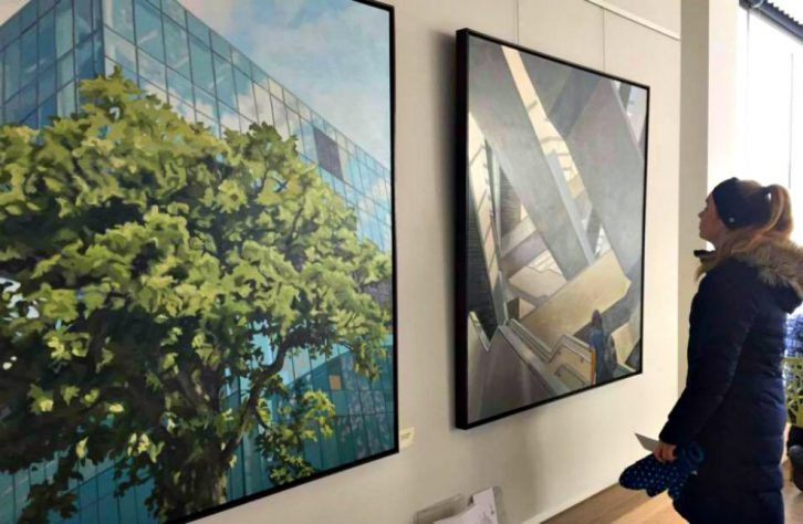 Art by Shelley Mitchell occupies walls in the Sunroom, a new space for art at the Central Library.