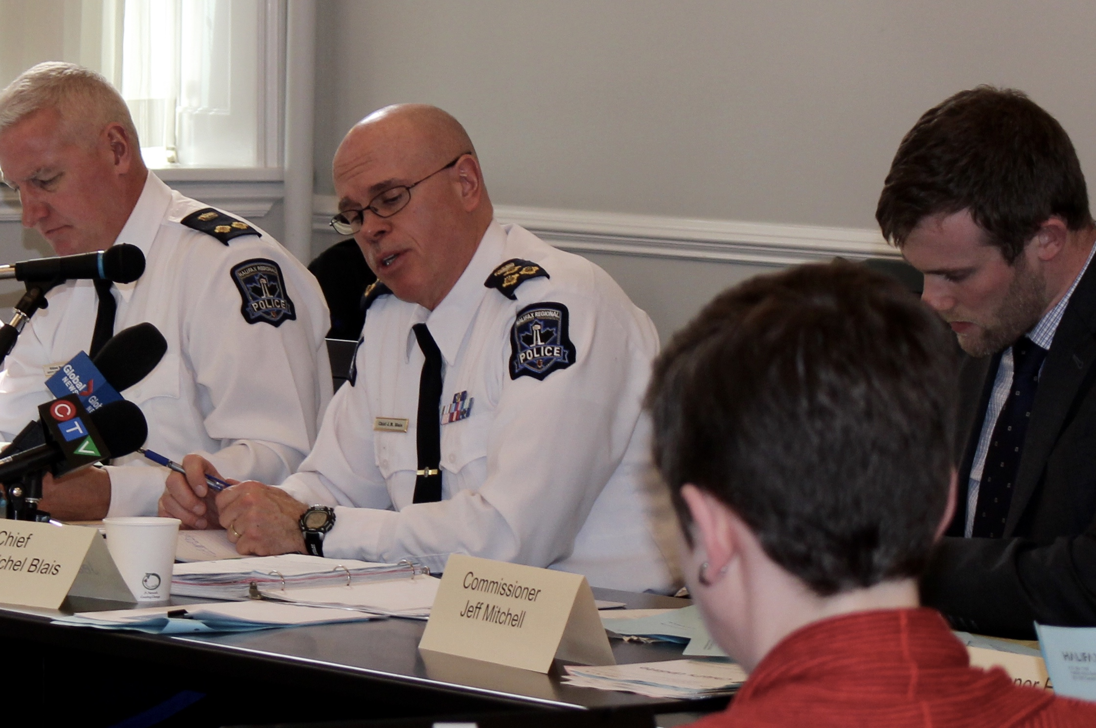 Police Chief jean-Michel Blais talks at a meeting at City Hall on Monday.