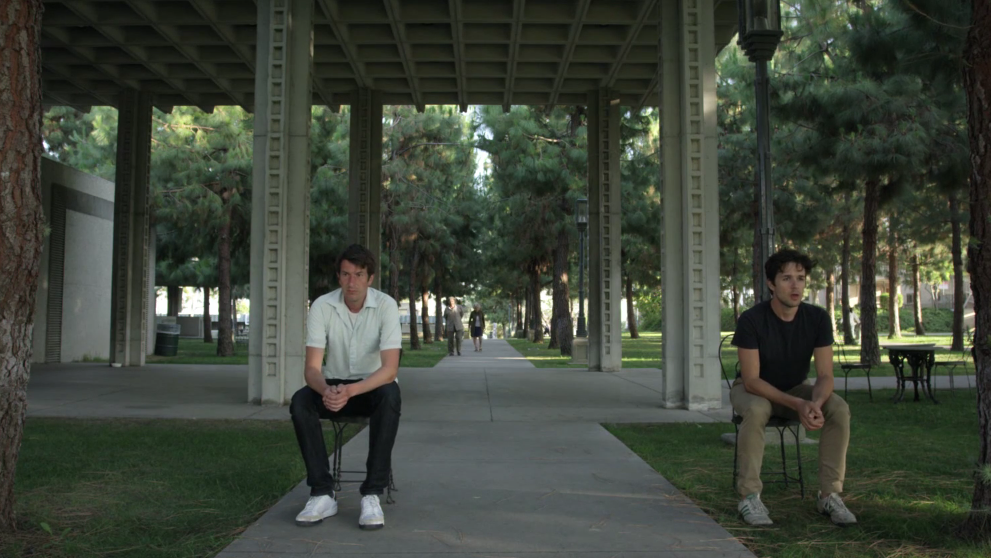 Joe Cobden (left) in a scene from his short film, Cycles.