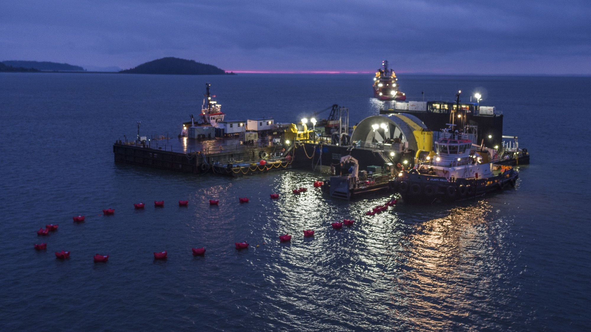 The first Cape Sharp Tidal turbine, visible in the centre, prior to its installation.