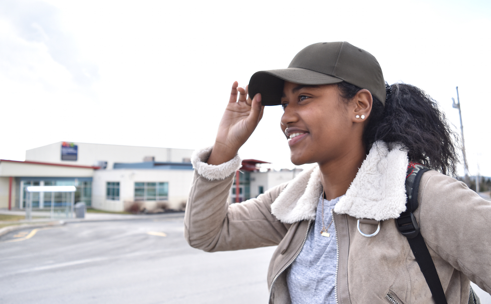 Kardeisha Provo, stands outside the North Preston Community Centre. She just launched a youtube channel to bring stories from her community to the world.