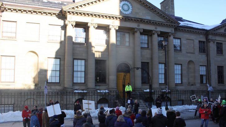 Though Tuesdays rally didn't have the turnout of Friday, their voices could be heard inside Province House