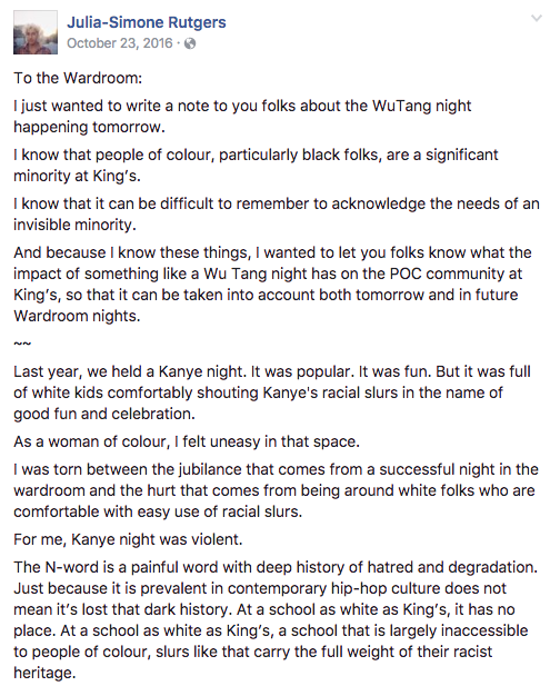Part of the original post from Julia-Simone Rutger