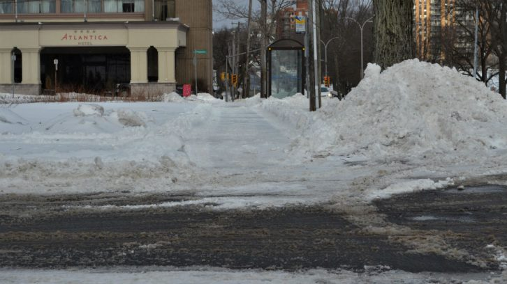 Deliveries resumed once some sidewalks and bus stops were cleared