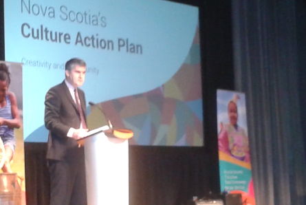 Premier Stephen McNeil addresses the crowd during the launch of Nova Scotia's Culture Action Plan on Wednesday.