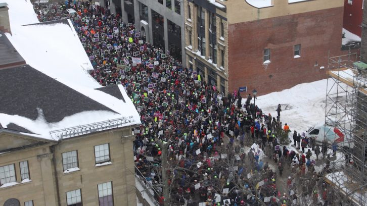 Thousands of frustrated teachers rallied at Province House Friday, protesting Bill 75