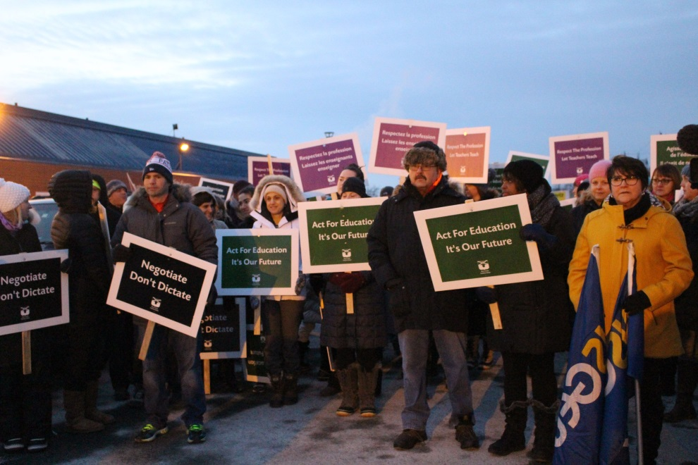 Teachers and their supporters gather at last month's rally outside the Dartmouth Sportsplex.
