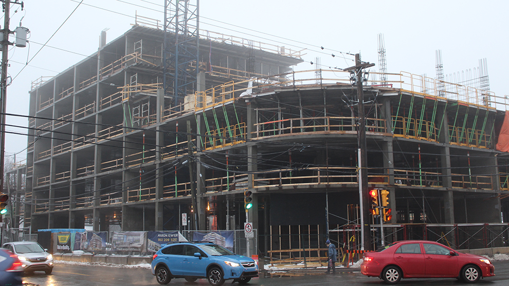 Construction site of the The Keep condominiums on Quinpool Road in Halifax.