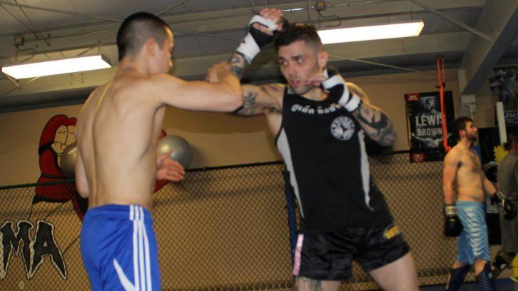Tucker with sparring partner, Koko McNeill .