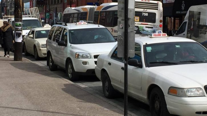 A row of taxis in Halifax