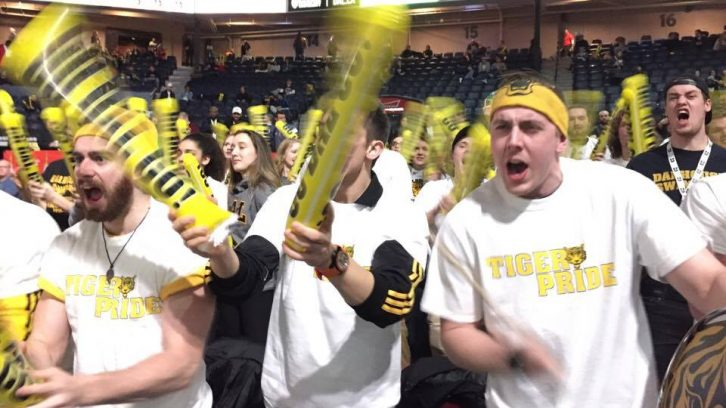 Dal fans cheer as their starting lineup is announced for the semi-final game on Saturday, March 11
