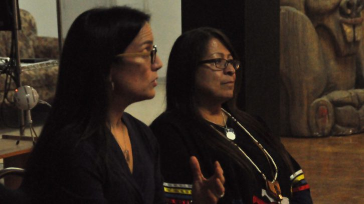 Dr. Nadine Caron, left, talks about indigenous health.
