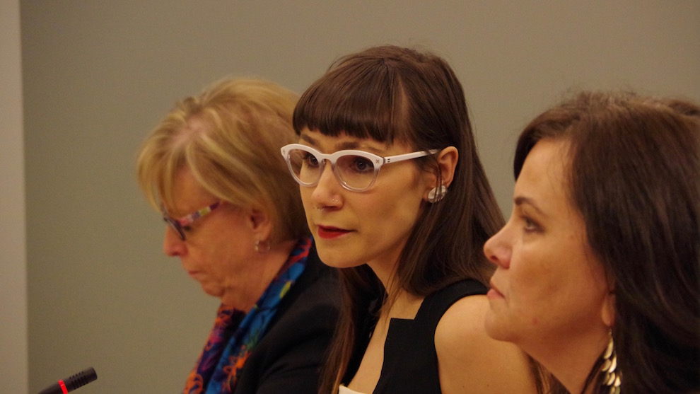 Sarah Kay Granke (centre) spoke about the provincial sexual violence prevention strategy.