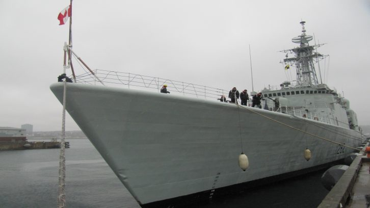 The HMCS Athabaskan docks at the Rainbow Gate after the day sail.