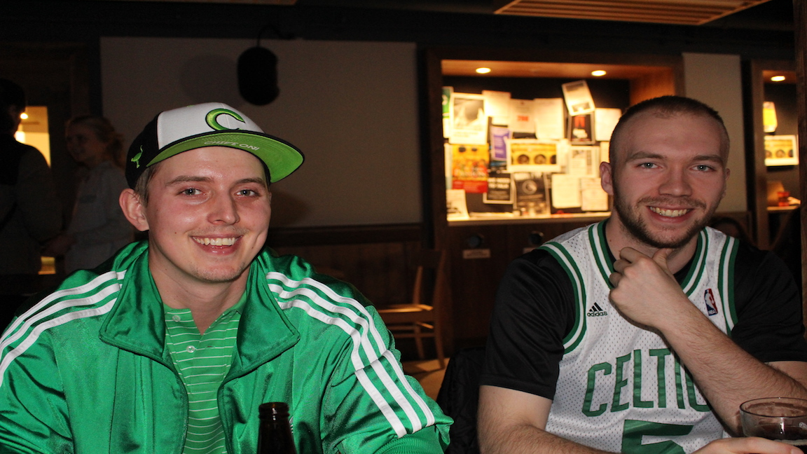 University students dress in green to celebrate St. Patrick's Day.
