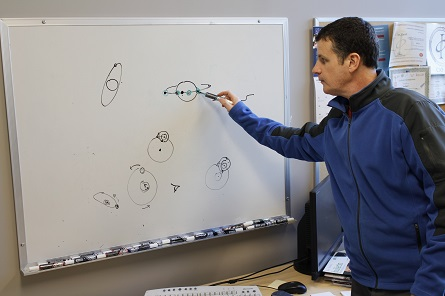 Ian Short illustrating the transit discovery method