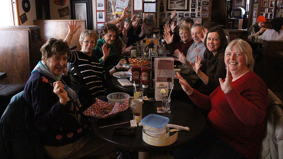 The group having fun at Freeman's in Fairview