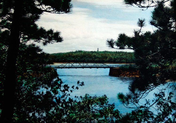 A photo of the single-lane bridge still hangs in Doug MacKay's house.