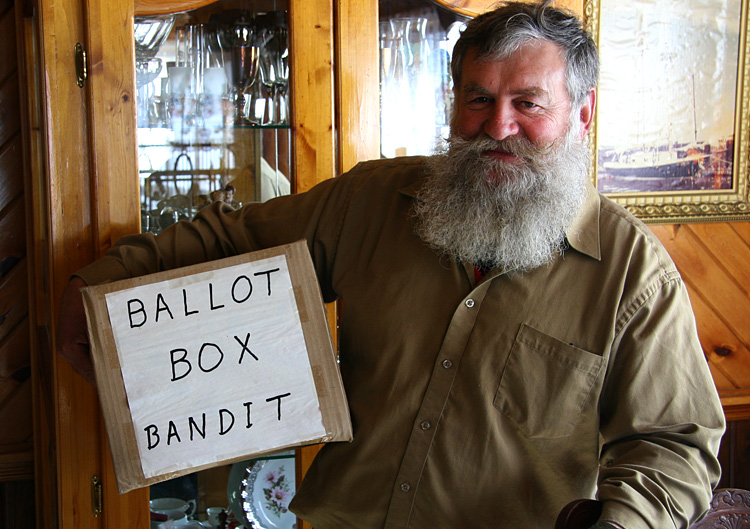 Alexander MacKenzie makes headlines every few years by stealing and destroying ballot boxes on election day in order to protest this disparity.