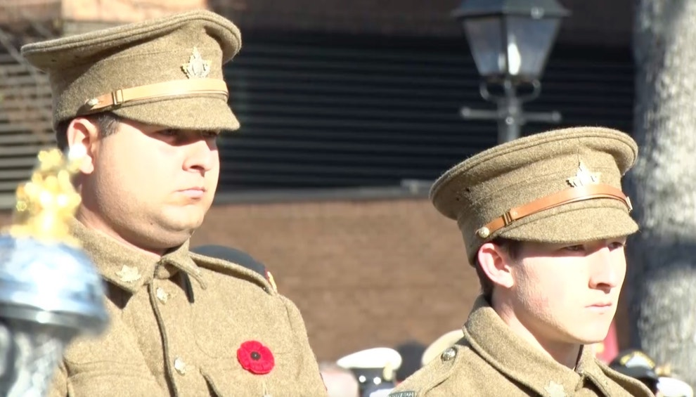 Soldiers in First World War attire participate in Halifax's ceremony.