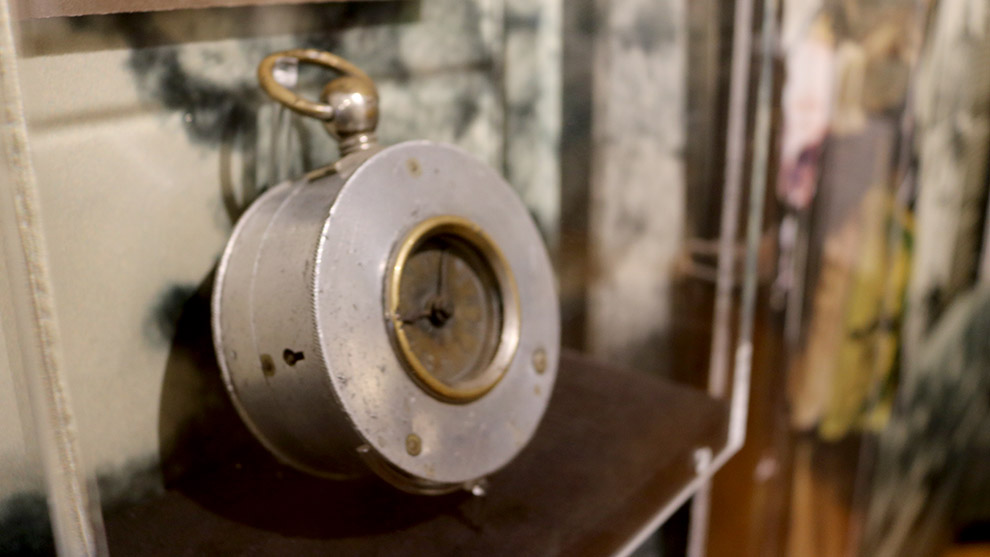 A watchman's clock that was stopped by the impact of the Halifax Explosion at 9:04:35 a.m. on Dec. 6, 1917.