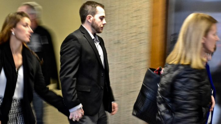 Christopher Garnier leaves court on Wednesday at the Nova Scotia Supreme Court in Halifax.