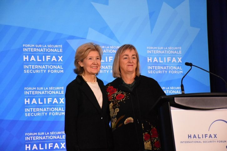 U.S. and Canadian ambassadors to NATO, Kay Bailey Hutchison and Kerry Buck.