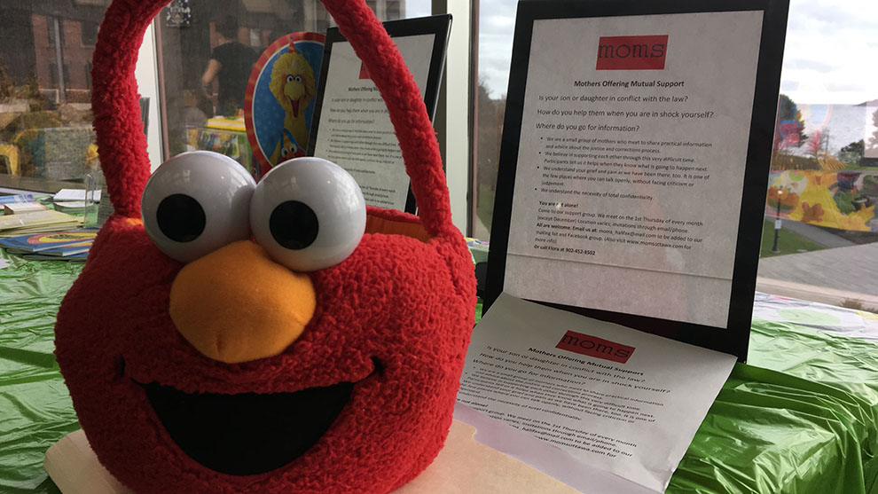 Sesame Street's Elmo visited the Alderney Landing Library.
