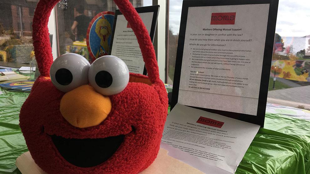 Sesame Street's Elmo visited the Alderney Landing Library.