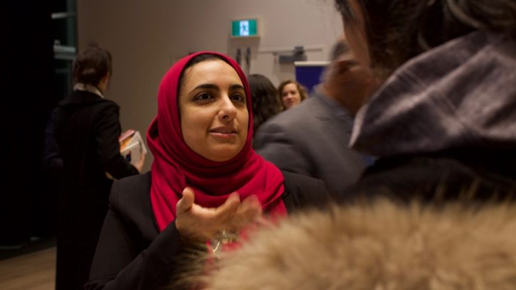 Ghadeer Darwish spoke to friends and family during a networking session at Monday night's showcase.