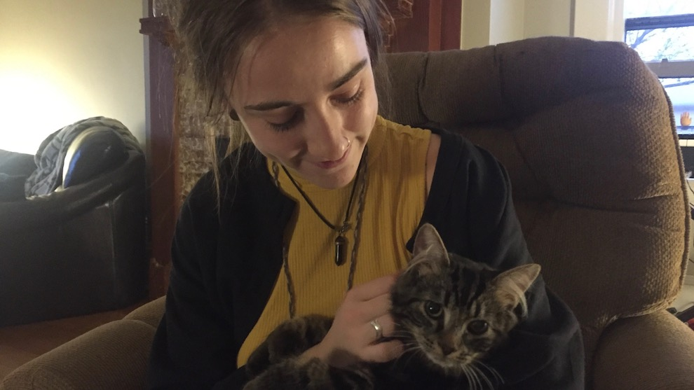 Kayla Kirsch says her cat Tuna likes to go for walks in the warmer weather.