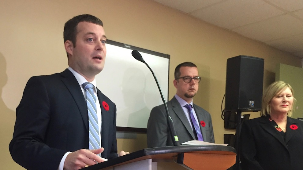 Minister Randy Delorey, left, said Nova Scotia will invest $800,000 into opioid treatment programs.