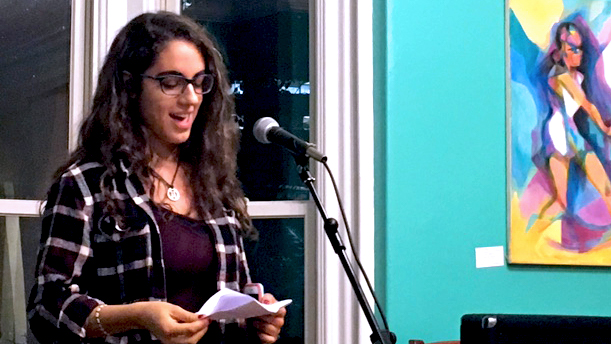Dal student of international development and creative writing Gracey Patterson took to  stage to share two of her original poems.