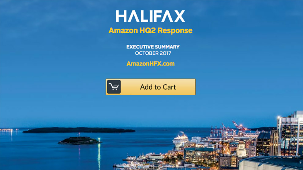 A screenshot of the executive summary that outlines the main incentives for Amazon to set up shop in Halifax.