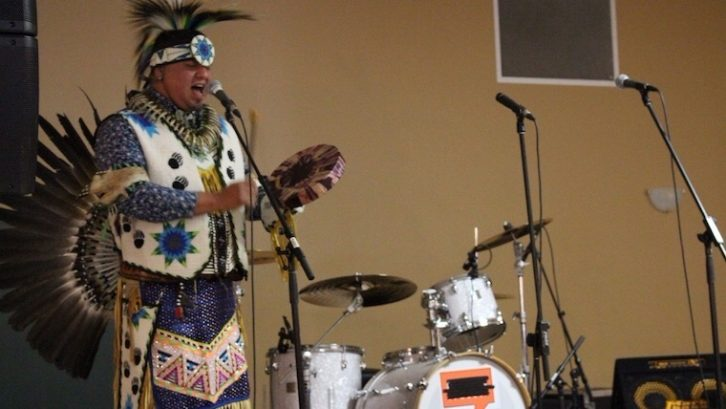 Mi'qmaq dancer Trevor Gould opens Halifax United with Honour Song.
