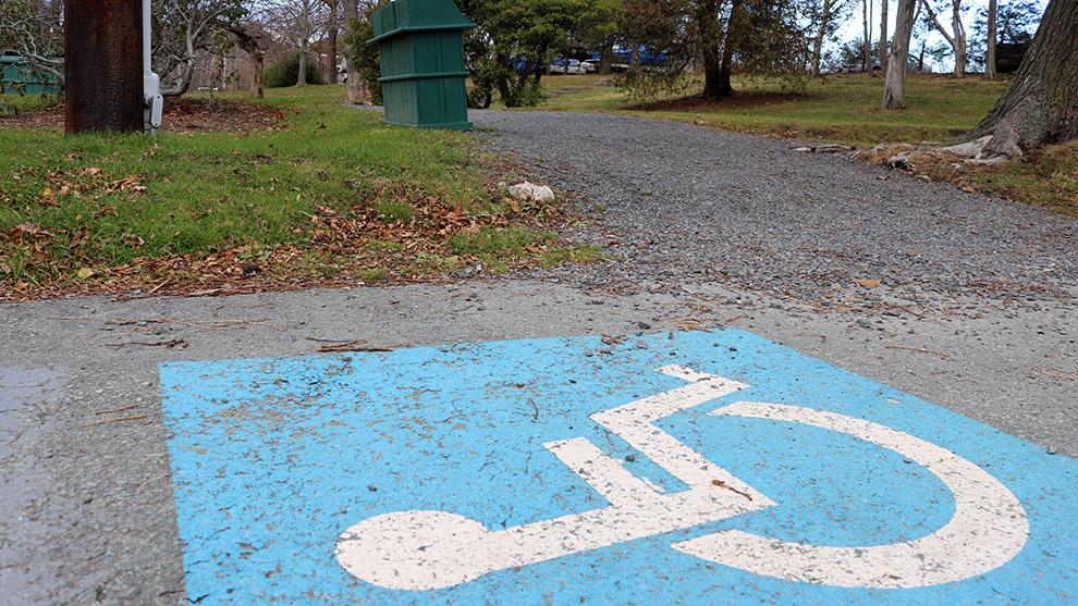A trailhead at Conrose Park in Halifax.