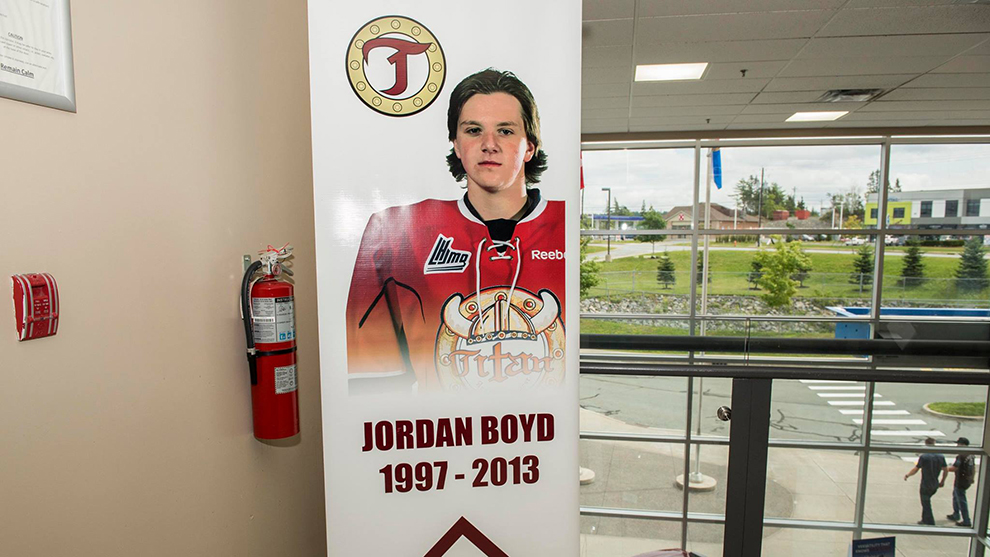 Jordan Boyd died on the ice at training camp in 2013.