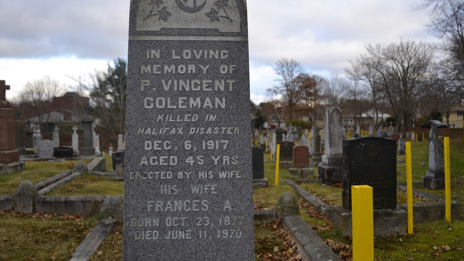 The grave of Vincent Coleman, a victim of the Halifax Explosion.