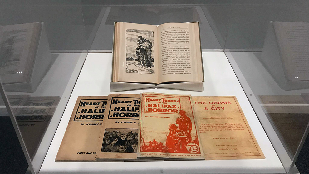A collection of different editions of The Halifax Horror at the Dalhousie Art Gallery