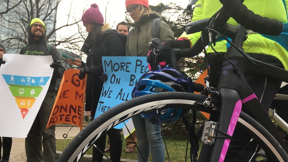 Members from the Ecology Action Centre and Halifax Cycling Coalition gathered outside city hall Tuesday morning to rally in support of the plan.