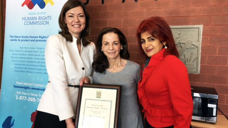 (Left to right) Christine Hanson CEO of the Nova Scotia Human Rights Commission, Rima Majaess of Citadel High School, and Floria Aghdamimehr of Partners for Human Rights.
