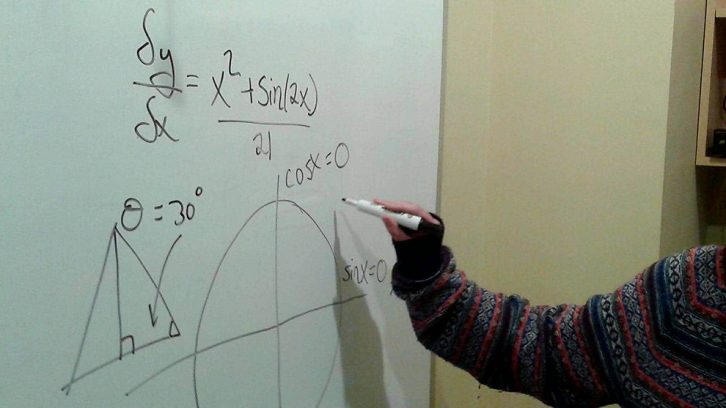 a student is calculating.