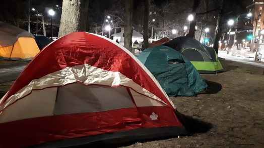 Tents set up for the Teen Challenge sleep-out in Victoria Park, Halifax
