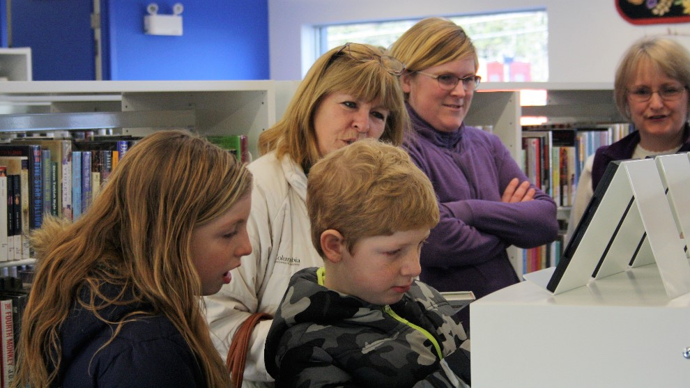 Community members enjoying the new Musquodoboit Library.