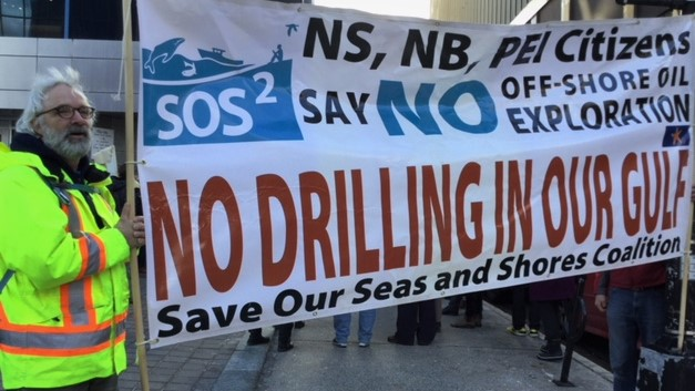 Members of the Offshore Alliance protest irresponsible drilling practices in Nova Scotia waters
